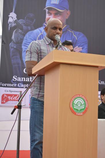 The Chief Guest for the mini marathon Former Sri Lankan cricket captain Sanath Jayasuriya while speaking in the event