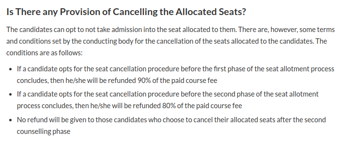 AUCET Seat Cancellation