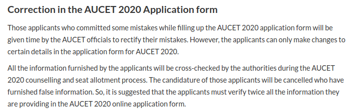 AUCET Application Form Correction