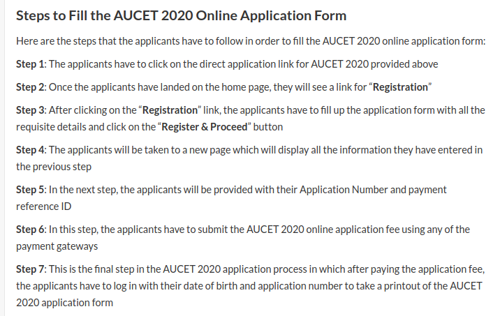 AUCET Application Process