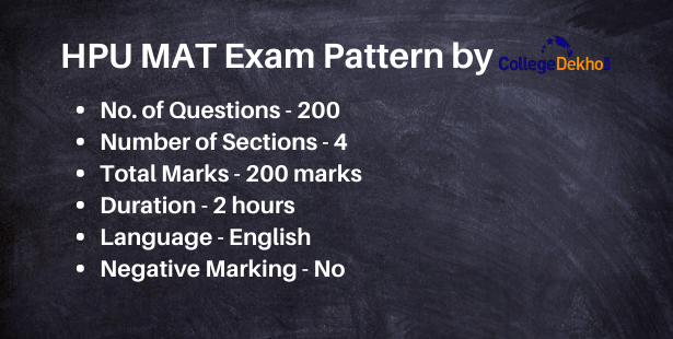 HPU MAT Exam Pattern: Number of Questions, Number of Sections, Total Marks, Total Duration, Negative Marking in HPU MAT