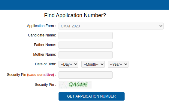 CMAT Application number login