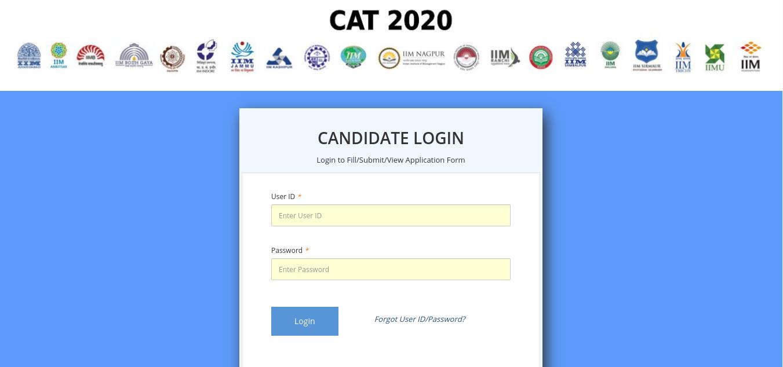 CAT 2020 Admit Card Login Page