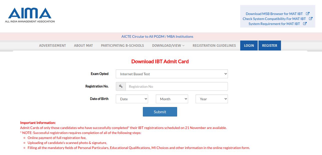 MAT Admit Card 2020 - Login Screen