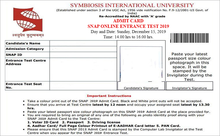 SNAP Sample Admit Card