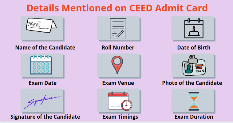 Details on CEED Admit Card